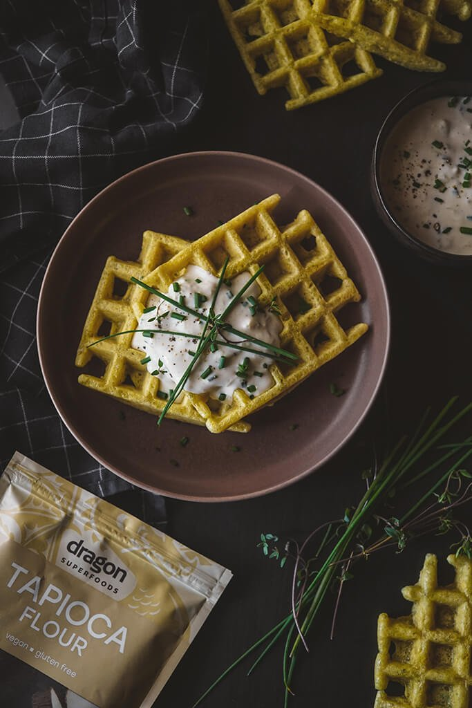 TAPIOCA WAFFLES WITH CHEESE AND HERBS