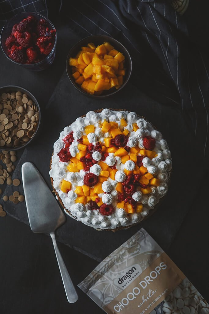 MANGO CAKE WITH WHITE CHOCOLATE, MANGO AND RASPBERRY FILLING